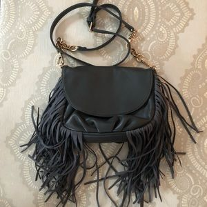 Deux Lux Fringe Purse Gold Chain Vegan